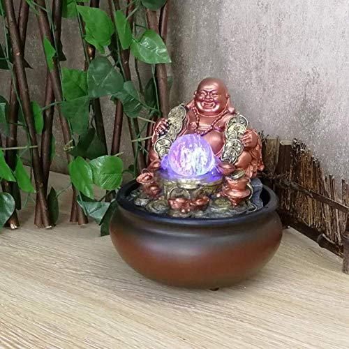 weiwei Fuente de Mesa de Buda Laughing con luz LED,Fuente de Agua para Interiores,estatuas de Buda Feliz,Adornos de Cascada para decoración del hogar,Buena Suerte y Feliz