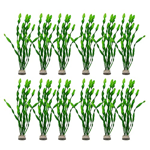 Artificial Seaweed Water Plants, 12 Pack Artificial Seaweed Fish Tank Plants Aquarium Decoration Plastic Water Plants (12inches)