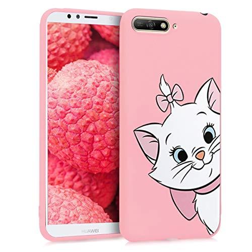 ZhuoFan Huawei Y6 2018 / Honor7A Hülle, Schutzhülle Silikon Pink Rosa Matt mit Muster Handyhülle Ultra Dünn Für Mädchen, Slim Stoßfest Weich TPU Bumper Hülle Backcover für Y6 2018, Kätzchen