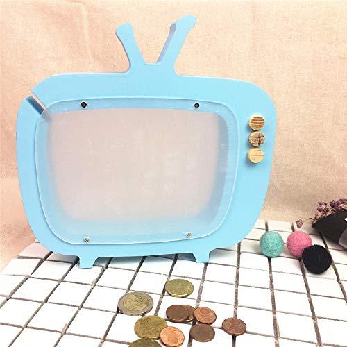 Color : Blue, Size : 22 x 22cm Pot d/économie /Économie de Pot en Bois MDF TV Tirelire Chambre D/écoration Chambre De V/êtement for Enfants Photographie Props Jouets Tirelire