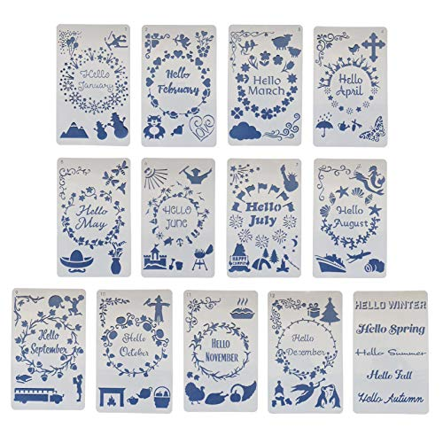 13pcs Monthly Stencils Drawing Painting Templates Set, 1-12 Months and Season Fun Themes Words Borders Journal Stencils for Scrapbooking Craft Projects Stamping Album Card