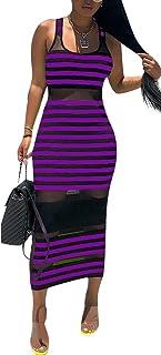 MogogoWomen Sleeveless Spliced Net Yarn Bodycon Clubwear Stripe Dress