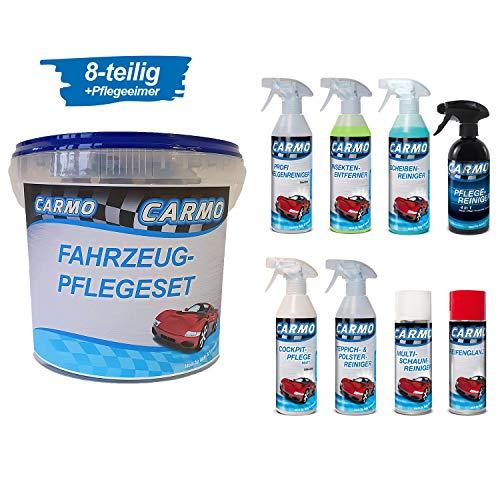 CARMO Autopflegeset inkl. Aufbewahrungseimer |Außen- und Innenreinigung | 8-teilig | Felgen-, Scheiben-, Teppich- und Polsterreiniger, Cockpitspray, Insektenentferner, Pflegereiniger 4 in1, Multi-Schaumreiniger, Reifenglanz | je 500 ml