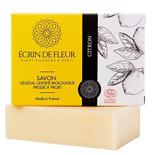 ÉCRIN DE FLEUR | Zertifizierte Bio von Ecocert | Zitronenseife | Spritzige Zitronen-Seife für Zitrus-Seifenliebhaber | in Frankreich handgemacht | Naturseife kaltgerührt | Ohne Palmöl & SLS | 100g