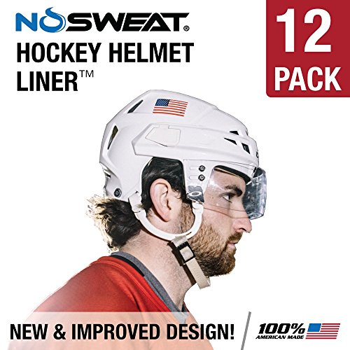No Sweat Hockey Helmet Liner - Moisture Wicking Sweatband Absorbs Dripping Sweat | Helps Prevent Acne, Reduces Fogging/Anti-Fog - (Hockey Players/Officials and Referee) (3 Pack)