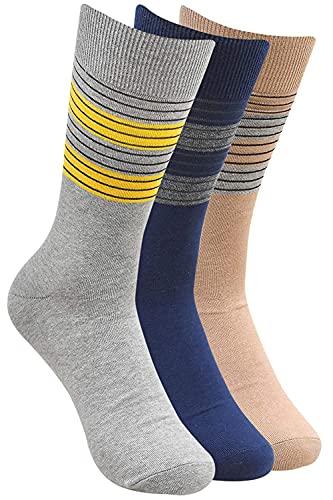 Kalagiri - Calcetines formales a rayas para hombre (azul marino, beige, gris claro), juego de 3 pares