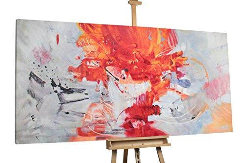 KunstLoft® XXL Gemälde 'Sinnesrausch' 200x100cm   original handgemalte Bilder   Abstrakt Rot Weiß groß XXL   Leinwand-Bild Ölgemälde einteilig groß   Modernes Kunst Ölbild