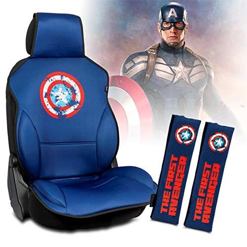 Capitán América Set de 1 Respaldo Asiento + 2 Almohadillas Cinturon Universal Azul Marvel Avengers