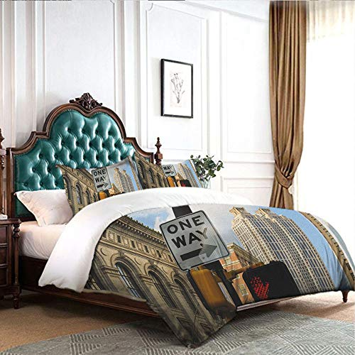 Four-Piece Bedding Cotton Sheets Double Bed Home Textile One-Way-Sign-in-Front-of-Atlanta-Skyline-Downtown-Apartments-Urban-View high Density Weaving Process W68 xL90