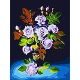 LoveTheFamily 数字油絵 数字キット塗り絵 手塗り DIY絵 デジタル油絵 40 x 50 cm ホーム オフィス装飾 -花