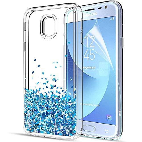 Custodia Samsung Galaxy J3 2017,Cover Glitter Galaxy J3,Samsung Galaxy J3 Cover,Glitter Custodia Bling Liquido Bumper TPU Silicone Cover Protettivo Brillantini Trasparente Quicksand Case