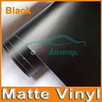 プレミアムブラックマットビニールカーラップ異なるサイズ/ロール、色の名前とサテンマットブラック箔カーラップフィルム車両ステッカーオート:ブルー、サイズさ:40cm X 152センチメートル (Color : 黒, Size : 10cm X 152cm)