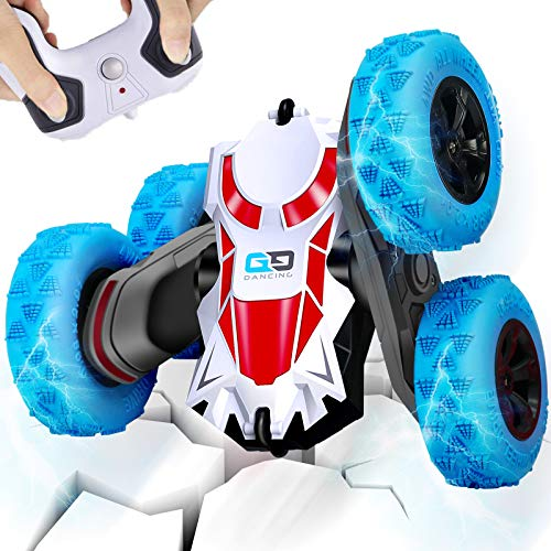 AMENON Remote Control Stunt Car, 360°Rotating Double-sided Stunt Hobby RC Cars 2.4GHz 4WD High Speed Rechargeable RC Trucks for Boys Girls, Kids Toys Car Vehicles Holiday Xmas Gift