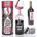 Dimono® XXL Weinglas das ultimative Weinflaschen Glas Rotweinglas Weißweinglas 750 ml mit Reinigungskugeln und Geschenkverpackung (Rotweinglas 750 ml mit Reinigungsperlen)