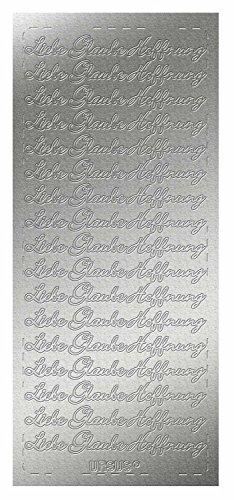 Ursus 593100115 - Kreativ Sticker, Liebe, Glaube, Hoffnung, 5 Blatt, silber