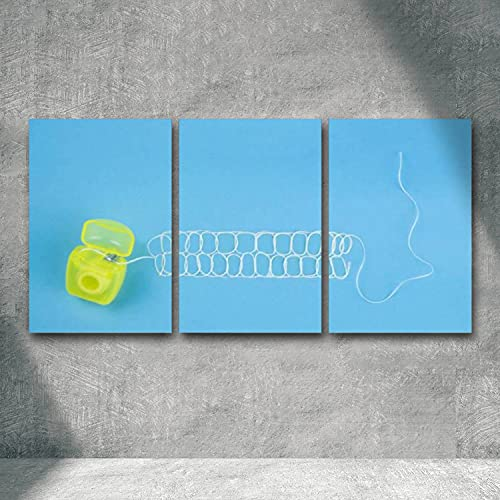 Canvas Wall Art Tooth form of dental floss on a blue background Giclee Canvas Prints Artwork Painting Pictures Wall Decoration for Home Office Bedroom Ready to Hang 3 Panels