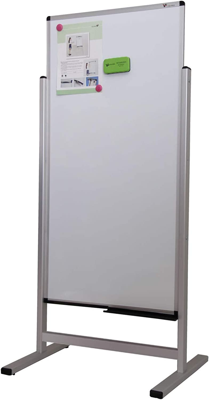 VIZ-PRO Weißboard Doppelseitige magnetische Stand Weißboard, mit Alurahmen, 1200 x 600 mm