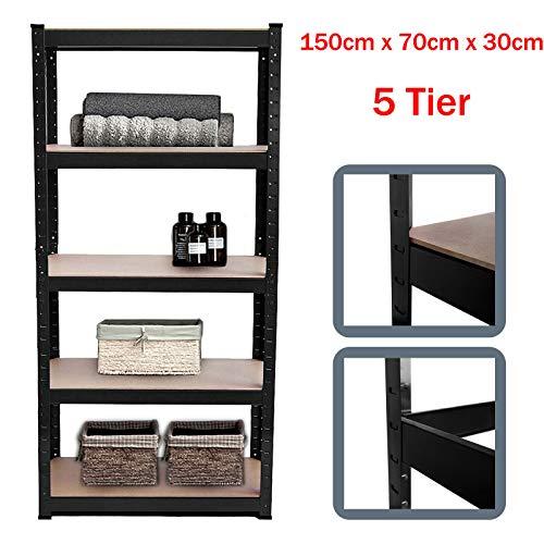 Scaffale senza bulloni, 150 cm x 70 cm x 30 cm, colore nero, 5 ripiani, portata fino a 175 kg per ripiano regolabile