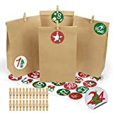 Bluelves Calendario de Adviento 2020, Set de 24 Bolsas de Papel Kraft para Rellenar con Calendario de Adviento Casero, Bolsa de Regalo Navidad Decoración Navideña para el Hogar