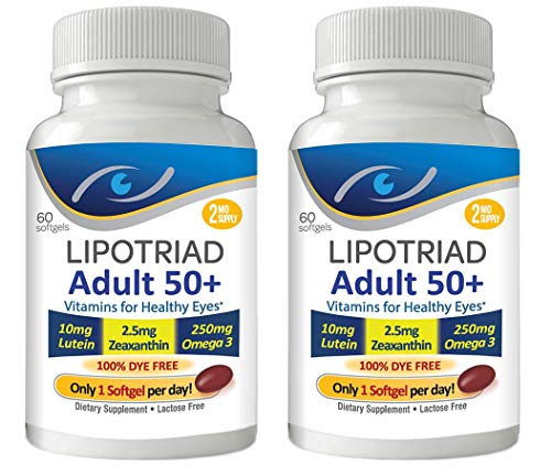 Lipotriad Adult 50+ Eye Vitamin and Mineral Supplement w/10mg Lutein, Zeaxanthin, Omega 3, Vitamin C, E, Zinc Copper, 1 Per Day, 60 Softgels - 4mo Supply - 2pck