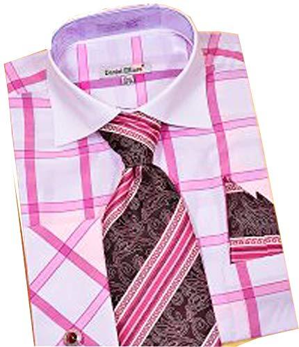 Daniel Ellissa Men's Long Sleeve Dress Shirt Tie Cuff Link Hanky (White Fuchsia, Medium / 15.5' Neck, 33-34' Sleeve)