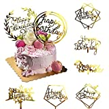 ❤Elegant Design:Our gold happy birthday cake topper set has 8 different styles, double-sided design, they can match different style cakes, making your cake more attractive and more delicious. Small decoration has a great impact to your party ❤Premium...