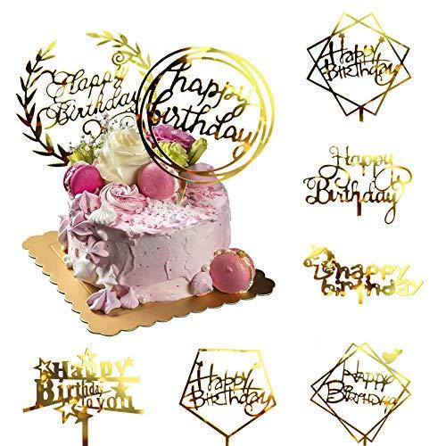 """Kuchentopper goldene """"Happy Birthday"""" aus Acryl mit Glitzer, Tortendekoration, Partyzubehör für Kinder oder Erwachsene"""