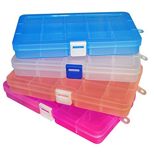 DUOFIRE アクセサリー収納 小物収納ケースボックス 透明 整理箱 パーツ入れ コレクション ボックス 小物入れ 雑貨入れ 時計ケース【Sサイズ 4色セット】(15グリッド 蓋付き)