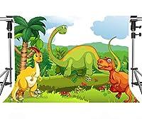 MEETSIOY アニメ 恐竜 背景 写真 アニメ スタイル 恐竜 世界の背景 恐竜テーマ パーティー背景 装飾小道具 7x5フィート DSMT123