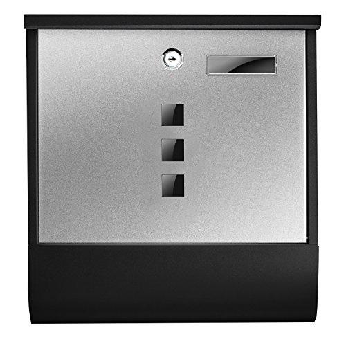 TÄGA 2217 Design Briefkasten anthrazit mit Zeitungsfach, Namensschild, Sichtfenster, Edelstahl pulverbeschichtet, abschließbar, 2 Schlüssel, Farbe: matt, anthrazit, grau - 5