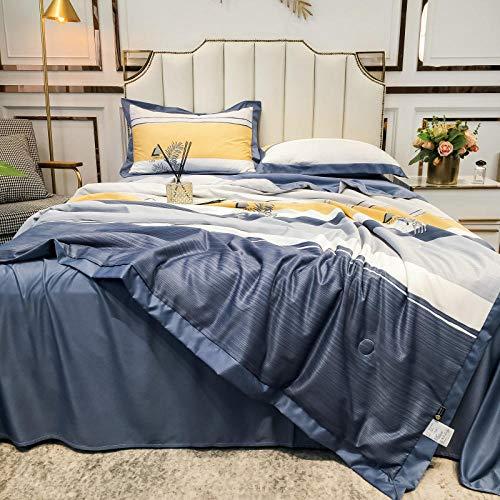 Juego de sábanas de 7 piezas para cama de matrimonio, 3 piezas, seda como satén, ultra suave, 1 edredón de verano y 2 fundas de almohada, azul oscuro_150 x 200 cm Un edredón de verano
