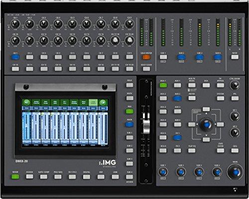 IMG STAGELINE DMIX-20 Digital-Mischpult mit intuitivem Bedienkonzept und kompakter Bauweise für Einsätze auf Bühnen oder im Home-Studio, DJ-Mischpult über konstenfreier App steuerbar, in Schwarz