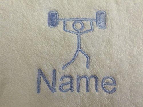 EFY Peignoir à capuche pour enfant avec logo haltérophilie et nom au choix Rose 2, 4, 6, 8, 10 ou 12 ans