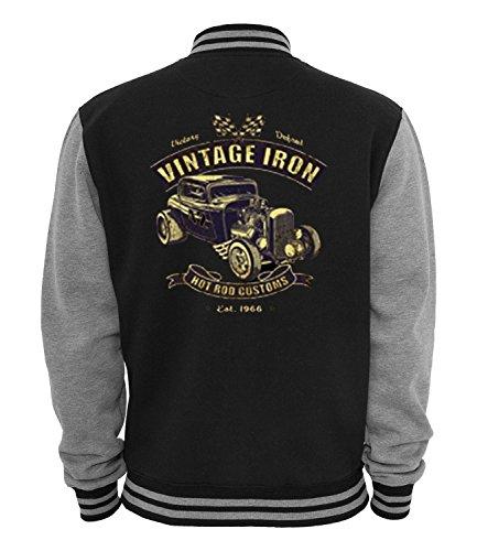 Ethno Designs - Vintage Iron - Hot Rod Veste College Old School Rockabilly Retro Style pour Femmes et Hommes, navy / sports grey, taille L
