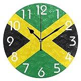 Naanle Chic - Reloj de pared con diseño de bandera de Jamaica del Caribe, redondo, 24 cm, funciona con pilas, analógico, de cuarzo, silencioso, para el hogar, la oficina, la escuela