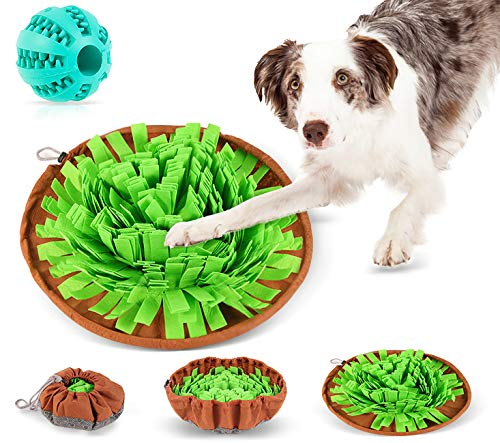 JOYUE Hund Schnüffelteppich Intelligenzspielzeug, Waschbar Faltbar Schnüffelteppich für Hunde, Schnüffelrasen Hundespielzeug Fördert Natürliche Nahrungssuche (1 Zusätzlicher Ball)