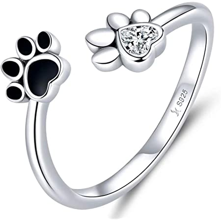 Qings Pet Footprint Open Ring Silver 925 Sterling Silver Adjustable Zircon Ring A Gift for Mom and Wife