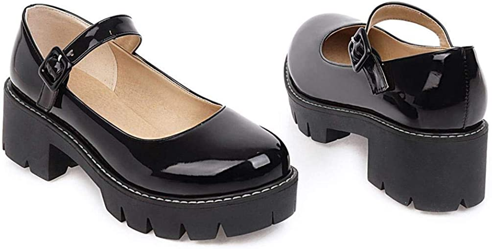Caradise Womens Chunky Mary Jane Platform Shoes Patent Leather School Uniform Dress Shoes