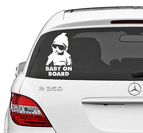(24x40 cm) Vinyl Car Decal Baby on Board, Kind met Zonnebril in Hangover Movie Style Venster Verwijderbare muursticker DIY + Gratis Willekeurig Decal Gift