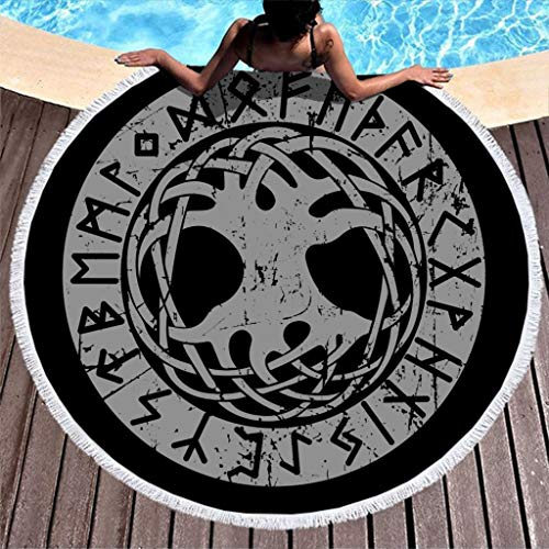 Ancient Viking World Tree Yggdrasil Knot Print Water Absorbent Round Beach Towel with Tassels Tribal Fringe Throw Blanket White 59 inch