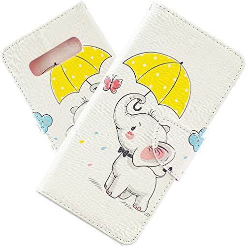 COTDINFOR Samsung Galaxy S10 Plus Hülle süß für Geschenk Lederhülle süß Schutzhülle PU Leder Flip Bookcase Handy Tasche Magnet Etui für Samsung Galaxy S10 Plus Umbrella Dumbo BF.