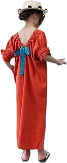 [チューカー] 子供ワンピース 女の子 ドレス 半袖 袖口リブ 薄地 フレアワンピース 格子縞 サンドレス バックレス 蝶結び スリット入り プリンセスドレス パーティー リゾート 親子 お揃い