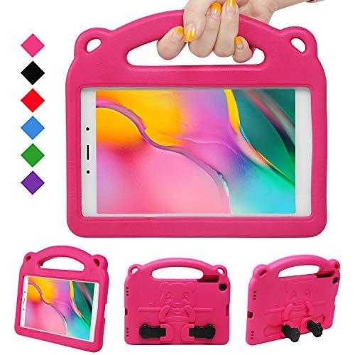 NEWSTYLE Kinder Hülle für Samsung Galaxy Tab A 8.0 Inch 2019, Leicht, Stoßfest, Griff für Kinder, Einzigartig Ständer für Tab A 8.0 Inch 2019 SM-P290/P295 Release (Magenta)