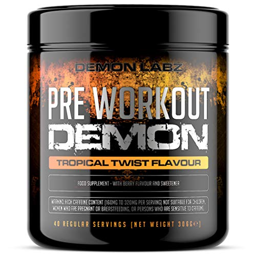Pre Workout Demon (Tropical Twist Flavour) - Hardcore Pre-Workout Supplement with Creatine, Caffeine, Beta-Alanine and Glutamine (Regular - 320 Grams - 40 Servings)