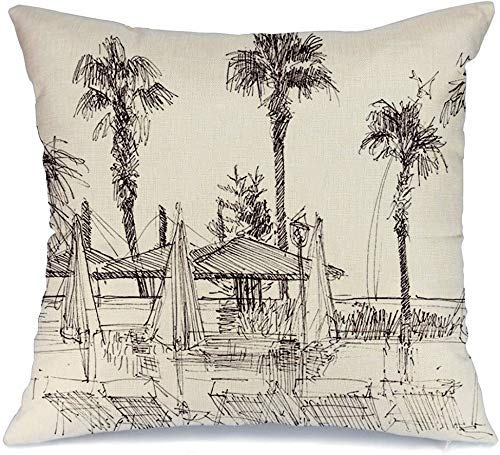 Funda de cojín Impresión árbol Palma playa turca diseño tinta dibujo lienzo pluma paisaje cartel parques pintura al aire libre Funda de Cojine 45 X 45CM
