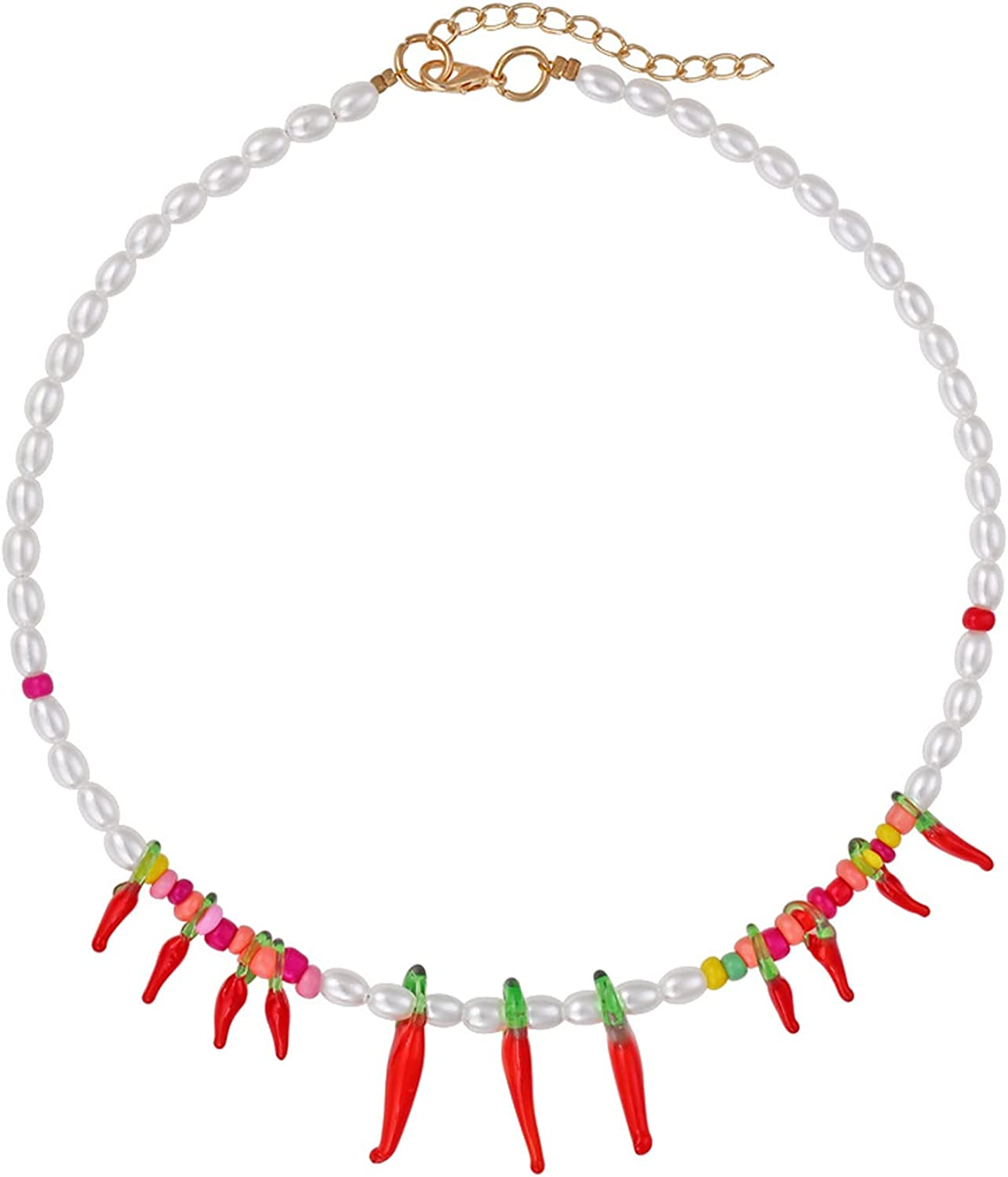 Multilayered Colorful Beaded Lemon Pepper Cherry Charm Pendant Pearl Choker Necklace for Women Girls Jewelry Party Gifts