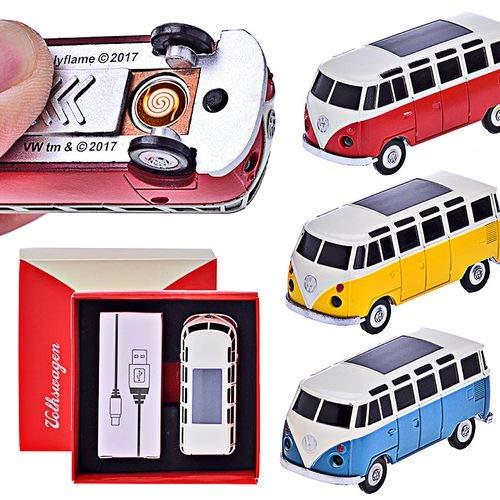 CHAMP VW Bulli T1 - USB Feuerzeug Spiral-Batterie-Anzünder VW Bus in Einzelverpackung mit USB Ladekabel