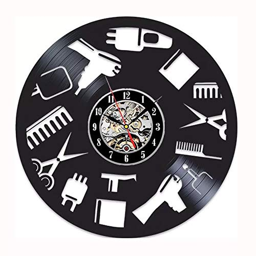 LKJHGU Reloj de Pared de peluquería diseño Moderno Reloj de peluquería salón de Pelo Disco de Vinilo CD Reloj de Pared Sala de Estar decoración del Dormitorio Mudo