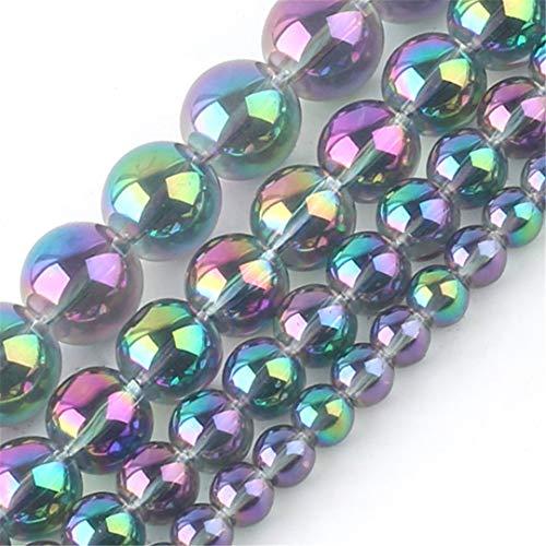 6/8/10/12 Mm Cuentas De Diamantes De Imitación De Cristal Chapado En Colores Cuentas Espaciadoras Redondas para Hacer Joyas Accesorios De Bricolaje 12mm About 30pcs