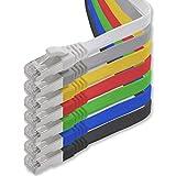 Cable Ethernet LAN CAT.7, RJ45, 10 Gbit/s, plano, compatible con Cat.5, Cat.5e y Cat.6 7-Farben - 7 Stück 1 m